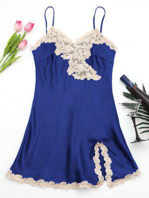 Shiny Satin Slip Dress - Sapphire Blue L