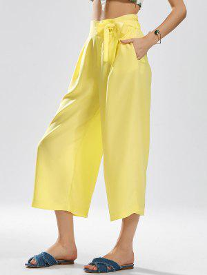 Ninth Bowknot Wide Leg Pants - Yellow L