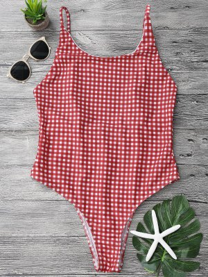 Open Back Gingham One Piece Swimsuit - Red And White M