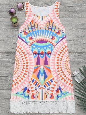 Africano, Impresión, Playa, Cubierta, Arriba, Tanque, Vestido - Multicolor M