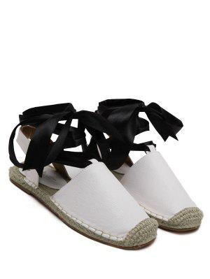 Tie Up Espadrilles Flat Heel Sandals - White 37
