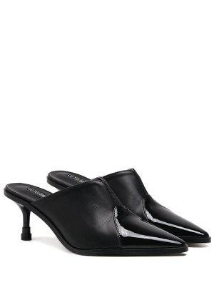 Zapatillas De Dedo Del Pie Con Punta De Cuero De Imitación - Negro 39