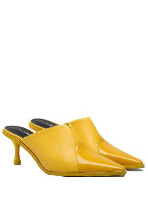 Faux Leather Pointed Toe Slippers - Yellow 38