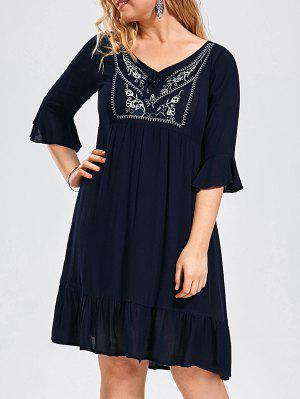 Ruffled Embroidered Plus Size Dress - Purplish Blue Xl