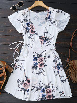 Mini Robe Frappé En Motif Floral - Blanc S