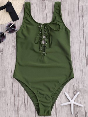Lace Up Slimming One Piece Swimsuit