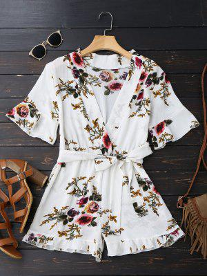 Bell Sleeve Floral Plunging Neck Romper
