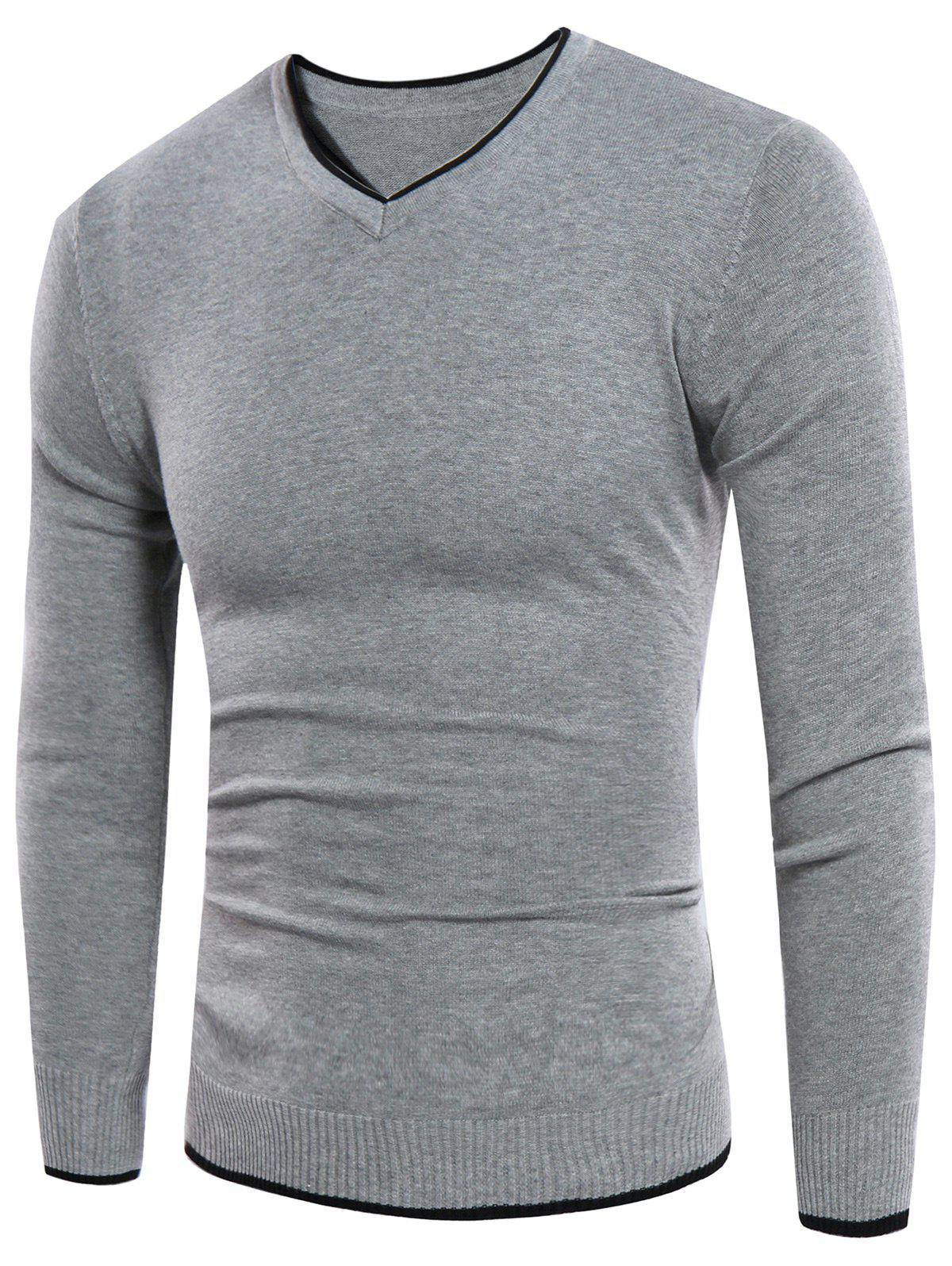 V Neck Knitting Rib Design Sweater 218003503