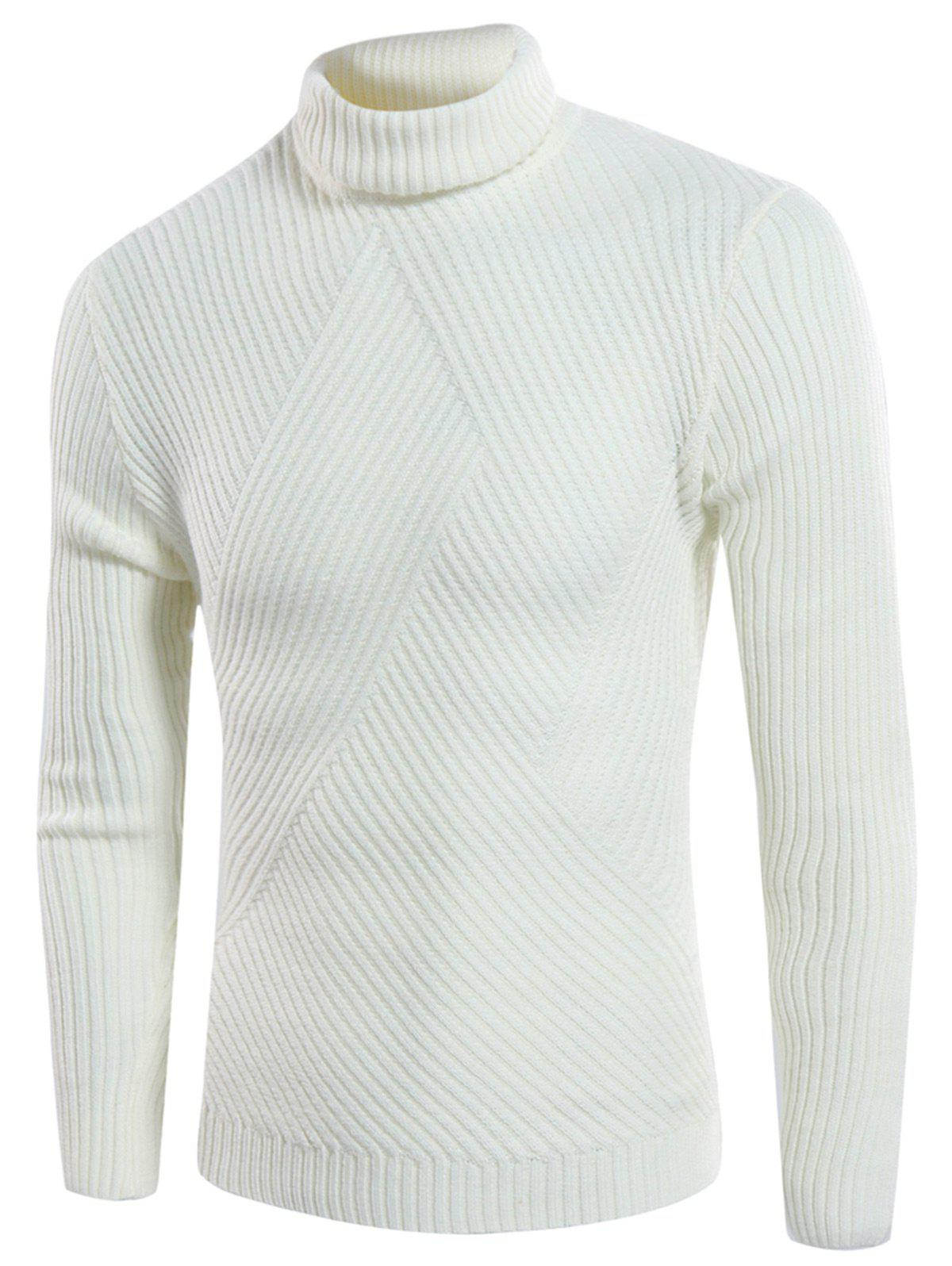 Turtle Neck Twill Knitting Ribbed Sweater 218003622
