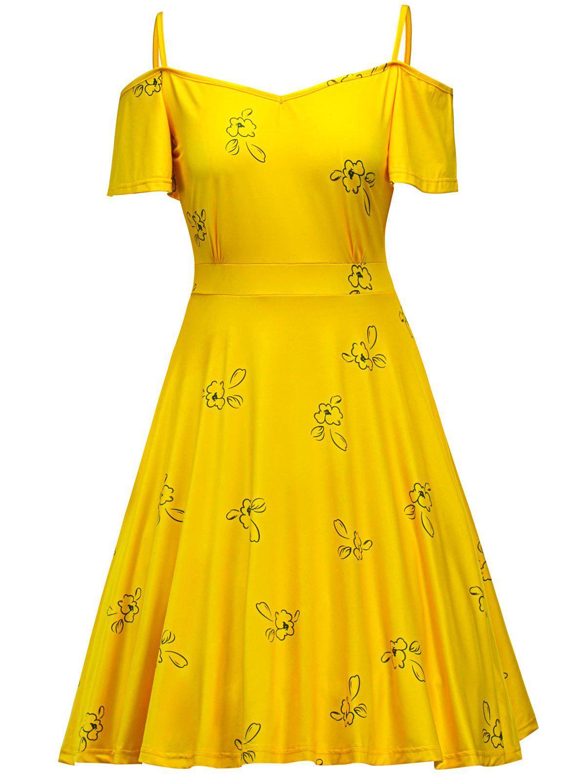 Floral Cold Shoulder Swing Dress 218008901
