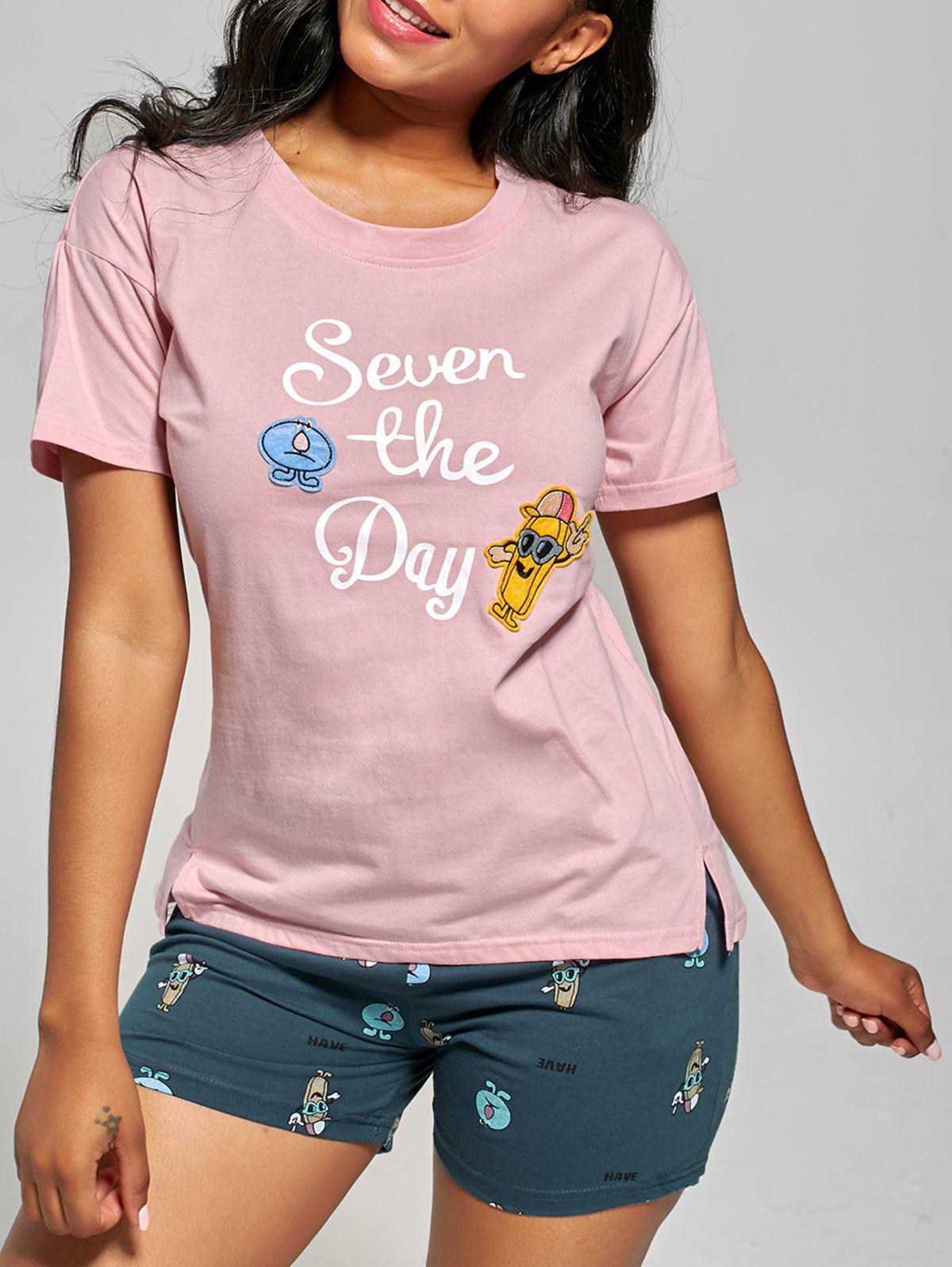 Print Cotton Pajamas Top and Shorts 217817504