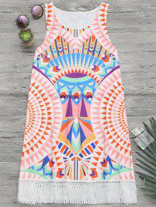 African Print Beach Cover Up Tank Dress - Multicolor S