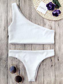 Bikini Con Textura Con Nervaduras De Un Hombro - Blanco L