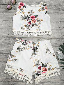 Floral Print Beach Cover Up Shorts Set - Off-white L