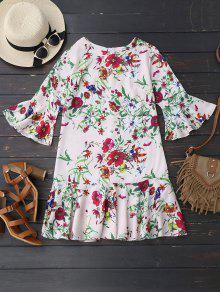 Flare Sleeve Floral Ruffles Mini Dress - Floral M