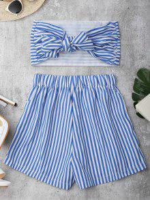 Knot Bandeau Shorts Set Beach Cover Up - Blue And White L