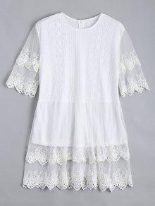 Lace Panel Longline Blouse - White L