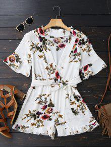Bell Sleeve Floral Plunging Neck Romper - White L