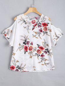 Cold Shoulder Floral Print Blouse - White S