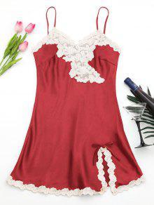 Shiny Satin Slip Dress - Red M