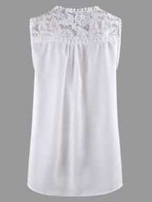 bdb21d9cac9ce 27% OFF  2019 Lace Trim Chiffon Plus Size Sleeveless Top In WHITE ...