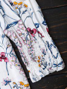 S La De Blusa Blusa 243;n La Impresi Blanco Dobladillo De Del Floral 7qw6P