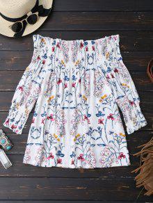 Blusa De La Blusa Del Dobladillo De La Impresión Floral - Blanco Xl