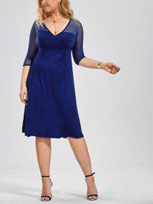Voile Panel Plus Size Surplice Dress - Blue Xl