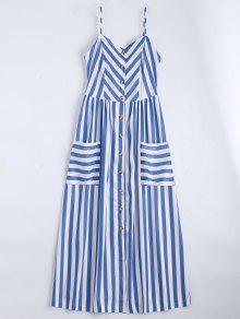 Vestido Con Tirante Fino A Rayas Con Botones - Violeta Azul  M
