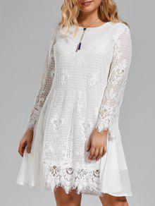 Plus Size Chiffon Panel Sheer Scalloped Dress - White 3xl