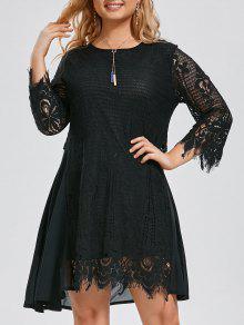 Plus Size Chiffon Panel Sheer Scalloped Dress - Black Xl