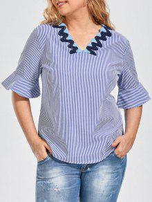 Embroidered Patched Stripes Plus Size Top - Stripe 3xl