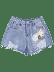 Patched Pineapple Sequined Ripped Denim Shorts DENIM BLUE: Shorts ...