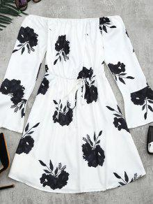 Floral Print Long Sleeve Dress - Black M