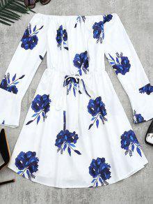 Floral Print Long Sleeve Dress - Blue M