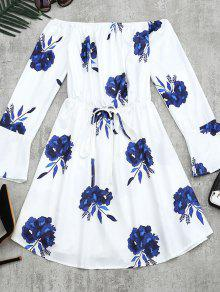 Floral Print Long Sleeve Dress - Blue S