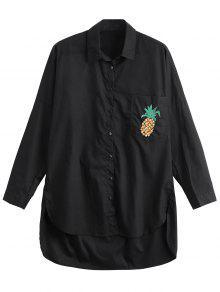 Chemise Brodée à Bas Jacob - Noir Xs