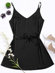Vestido Con Tirante Fino De Satén Con Cinturón - Negro S