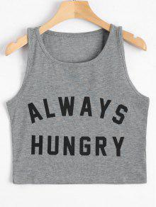 Graphic Always Hungry Cropped Tank Top - Gray S