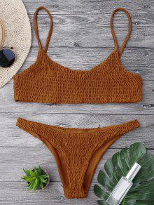 Smocked Bikini Top And Bottoms - Brown M