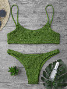 Smocked Bikini Top And Bottoms - Green M