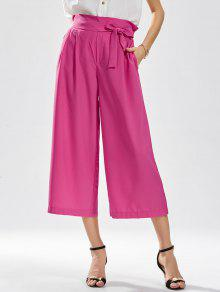 Ninth Bowknot Wide Leg Pants - Rose Red L
