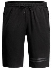 Seamless Zip Pocket Drawstring Shorts - Black L