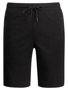 Zip Pocket Drawstring Sport Shorts - Black L
