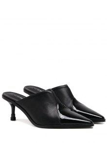 Faux Leather Pointed Toe Slippers - Black 39