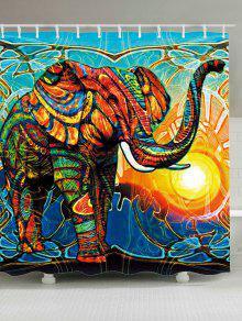 الملونة الفيل الشمس للماء دش الستار - W71 بوصة * L79 بوصة