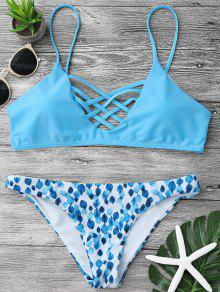 Strappy Lattice Padded Bralette Bikini Set - Blue S