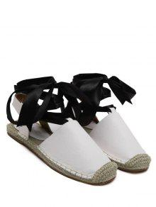 Tie Up Espadrilles Flat Heel Sandals - White 39