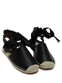 Tie Up Espadrilles Flat Heel Sandals - Black 40