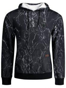 البرق طباعة الكنغر جيب هوديي - أسود Xl